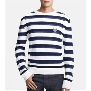 KENZO Tiger Appliqué Stripe Crewneck Sweater